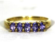 Stunning Oval Tanzanite 9ct Yellow Gold Half Eternity Ring Size S ~ 9 1/4