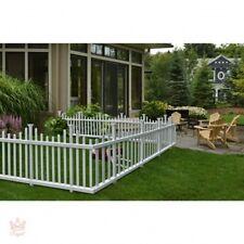 Portable Dog Fence Outdoor Pet White Vinyl Gate No Dig Corner Picket Large NEW