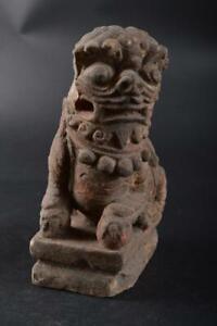 #3028:XF Japan Old Pottery Lion STATUE sculpture Figurines Okimono Buddhist art