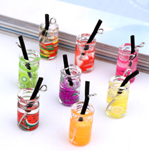10X Fruit tea Glass bottle Charms Pendants Earring Jewelry diy Accessories 26mm
