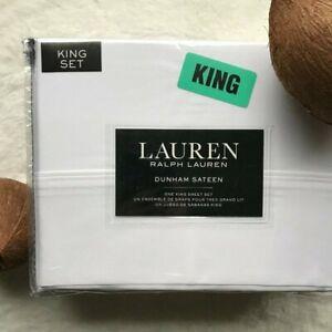 Lauren RALPH LAUREN 'Dunham' Cotton Sateen KING Sheet Set in Pure White NWT
