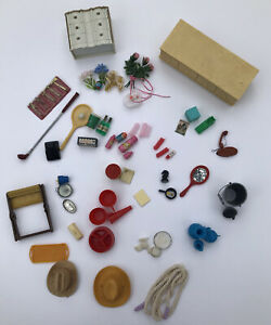 VTG Mini Dollhouse Furniture Plasticaccessories LOT Ideal Suzy Goose Barbie