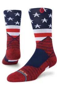 Stance Performance Feel 360 Sport American Crew Socks - Red L 9-13