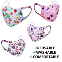 Kids Children Face Mask Mouth Protection Reusable Washable Cover Printed Unisex