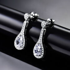 18K White Gold Filled Women's Earrings Wedding Dangle Gift Pear White Topaz