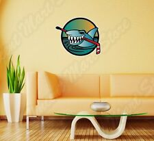 "Ice Hockey Stick Angry Shark Puck Wall Sticker Room Interior Decor 25""X20"""