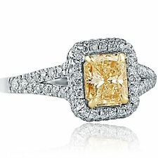 1.61 Carat VS/1 Radiant Natural Yellow Diamond Engagement Ring 18k White Gold