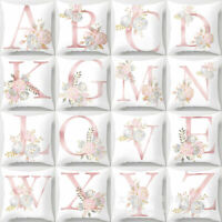 """18"""" Letter Pink Floral Printing Pillow Case Cushion Cover Sofa Car Home Decor Sy"""