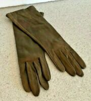 Vintage Ladies Leather Driving Gloves Size S Brown Taupe Soft Lined Gloves