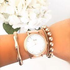 Kohë Rose Gold With Peach Leather Women's Watch 316L Water Resistant JapanQuartz