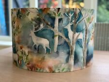Handmade Lampshade Voyage Seneca Forest Autumn Fabric Highland Stags Watercolour