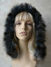 BLACK / BLUE / BROWN  Dyed Genuine RACCOON FUR Strip Collar Scarf, Hood Trim