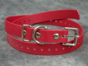 """Red 3/4"""" Biothane Dog Buckle E Collar Strap for Educator and Remote Trainer"""