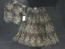 NWT Brigitte Bardot New Ladies Animal Print Midi Skirt & Matching Scarf UK 8/10