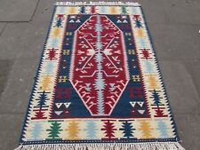 Old Traditional Hand Made Oriental Indian Kilim Red Blue Wool Kilim 180x123cm