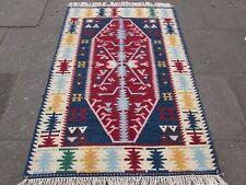 Old tradizionali orientali fatti a mano Kilim Indiano Rosso Blu Lana Kilim 180x123cm