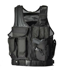 TACTICAL AIRSOFT PAINTBALL VEST BLACK FOR HUNTING POLICE SWAT with holster, Belt