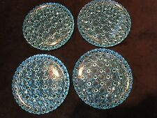 """EAPG set 4 Daisy & button pattern pressed glass plates Sapphire blue 6 15/16"""" W"""
