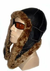 Brown Warm Sheepskin Shearling Leather Russian Ushanka Trapper Trooper Hat L-XL