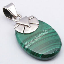 925 Sterling Silver Genuine MALACHITE Stylish Classic Pendant 3.1CM Jewels