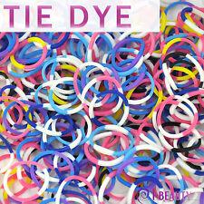 600 Rainbow Color Loom Bands Rubber Bracelet Kit Refill 24 Clips 4 Tone Tie Dye