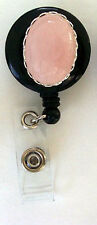 PINK QUARTZ Retractable ID Card Holder/Security Badge Reel/Key Chain