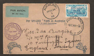 New Zealand Sc C5 on 1934 First Trans-Tasman Air Mail cover