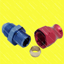 "AN6 Male to 5/16"" (8mm) Hardline Tube Fitting Adapter - Red / Blue"