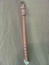 "Brand New Leather & Nylon Dog Collar Pink & Green 15"" x 2/3"""