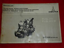 Deutz moteur f1/2l l511 et f1/2l 511 W Pièce De Rechange Liste de 1978