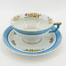Vintage Hand Painted Bone China Tea Cup & Saucer Made in Japan Blue w/ Flowers