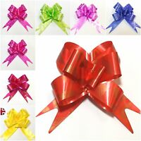 50 Pull Bows Decorations Large Wedding Cards Xmas Gift Wraps Florist 10 Colors