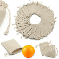 50X Small Burlap Linen Jute Sack Jewelry Pouch Drawstring Wedding Gift Mini Bags