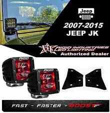 Rigid Radiance Pod Red & A-Pillar Mount Kit For 2007-2015 Jeep JK