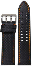 20mm PM Black Carbon Fiber Style Watch Band w/Orange Stitch & 2 Tang S.S Buckle