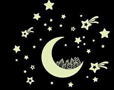 Glow In The Dark Wall Stickers Moon City Luminous Removable Decal Lunar Stars