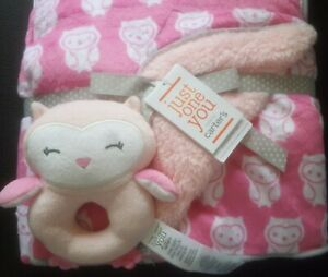 Just One You NWT Carters Pink Baby Blanket Sherpa White Owls Gray EdgeTrim Lovey