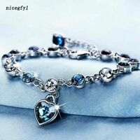 Women Ocean Heart Austrian Crystal Chain Jewelry Bracelet Bangle Adjustable