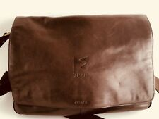 Gorgeous Brown Leather Coach Crossbody Messenger Bag with Wide Adjustable Strap