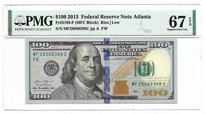 2013 $100 ATLANTA FRN, PMG SUPERB GEM UNCIRCULATED 67 EPQ BANKNOTE