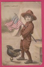 Sammy's kiddy pissing in a german helmet ww1 USA flag french patriotic postcard