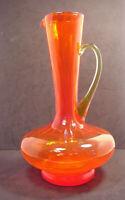 MCM Mid Century Art Glass Pitcher Vase Orange & Yellow