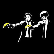 "BANKSY Pulp Fiction Banana *FRAMED* CANVAS PRINT poster Graffiti Art 20""x 20"""
