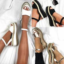 Sandalias de Verano para Mujer Damas Plataforma Alpargata Cuña Plana Correa De Tobillo Zapatos