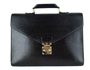 Auth Louis Vuitton Black Epi Leather Business Bag Ambassador Briefcase Hand Bag