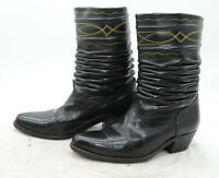 Vtg Womens Sz 7 Black Leather Slouch Western Cowgirl Mid Calf Boots