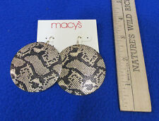 Macys Snake Design Dangle Pierced Earrings Gold Tone Metal Disk Black Gold NOS