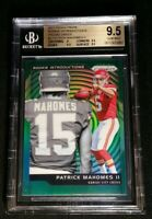 BGS 9.5 POP 2 PATRICK MAHOMES RC GREEN PRIZM *0 HIGHER 2017 Rookie Introductions
