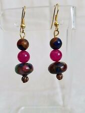 Handcrafted pink and blue quartz pyrite beaded dangle earrings