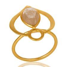 Golden Rutile Quartz 18K Gold Plated 925 Sterling Silver Ring Designer Jewelry